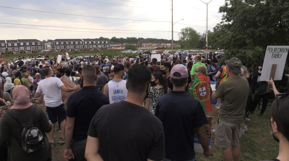 Thousands of multi-faith individuals marched against racism and Islamophobia in London, Ontario