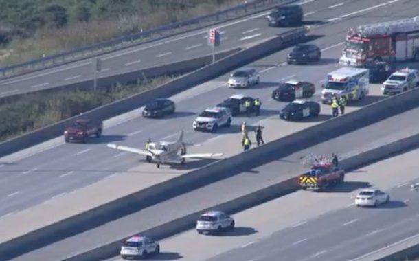 Plane makes an emergency landing on Highway 407 in Markham, Ontario